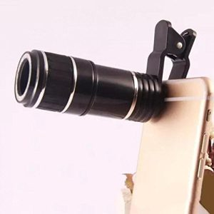 8X-12X Zoom Cellphone Camera Lens Manual Focus Clip-on Telephoto Lens Monocular for iPhone 6S, 6, SE, Samsung Galaxy S7, S6 (Black)