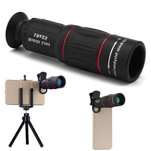 Abedoe 18×25 Monocular Telescope, 1000m Zoom Phone Camera Lens High Power Prism with Tripod Clip for Game Concerts Bird Watching Hunting Camping Travelling Wildlife Secenery,Universal for All Phones