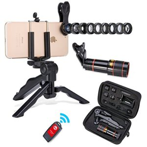 Akinger 13 in 1 Camera Phone Lens,New Generation Zoom Telephoto Lens+Fisheye +Wide Angle Lens&MacroLens+ Filter Lens+Kaleidoscope Lens+Selfie Remote Control and Tripod for iPhone And Other Smartphone