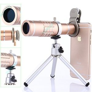 Camera Lens Kit,WMTGUBU 4 in 1 HD Universal Clip-On Phone 18X Optical Zoom Telephoto Lens+15X Super Macro Lens+0.6X Wide Angle Lens Tripod for iPhone Samsung Huawei Ipad Tablet PC Laptops