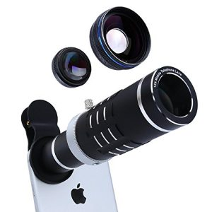 Cell Phone Lens 18X Telephoto Lens Super Wide Angle Lens Macro Lens 3 in 1 Camera Lens Kit with Mini Flexible Tripod and Universal Clip