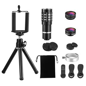 Criacr 3 in 1 Cell Phone Camera Lens Kit, 12X Fixed Focus Telephoto Lens + 0.63X Wide Angle & 15X Macro Lens (Attached Together) + Fisheye Lens + Tripod Camera Lens for iPhone, Samsung, Smartphones