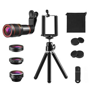 KeeKit Phone Camera Kit, 4 in 1 Lens for iPhone, 12X Telephoto Lens + 198° Fisheye + 15X Macro Lens + 0.63X Wide Angle with Phone Holder for iPhone X/ 8/ 8 Plus/ 7, Samsung & Smartphones