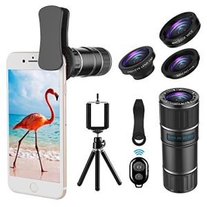 Phone Camera Lens, 4 in 1 Clip On Lens Kit, 14X Telephoto Lens + 180° Fisheye Lens + 15X Macro Lens + 0.65X Wide Angle Lens + Tripod & Phone Holder for iPhone x 8 7 6 plus, Samsung and Smartphone