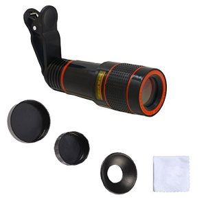 YACYA 12XLens-Y-US 12X Optical Zoom Telescope Lens Clip On Cell Phone Camera Lens for iPhone 8/7/6s/6 Plus/SE, Samsung S7/S6/Edge, LG, Moto, HTC, Sony and more