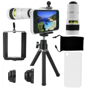 iPhone 5C Camera Lens Kit including 8x Telephoto Lens / Fisheye Lens / Macro Lens / Wide Angle Lens / Mini Tripod / Universal Phone Holder / Hard Case for iPhone 5C / Velvet Phone Bag / CamKix Microfiber Cleaning Cloth – Awesome Accessories and Attachments for Your Apple iPhone 5C Camera
