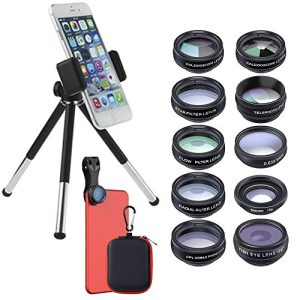 11 in 1 Phone Camera Lens Kit Retractable Tripod for Most Smartphones Tablets
