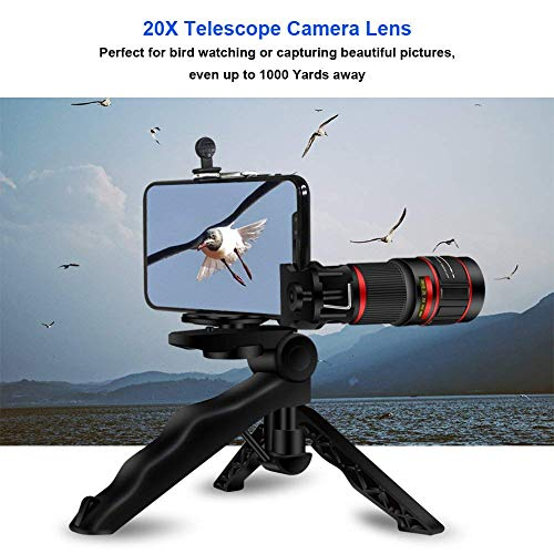 20X Phone Telephoto Lens, AIKEGlobal 20X Zoom Telephoto Lens, Stronger  Tripod, Wireless Remote Shutter,Photo Holder Compatible iPhone,  Samsung,iPad