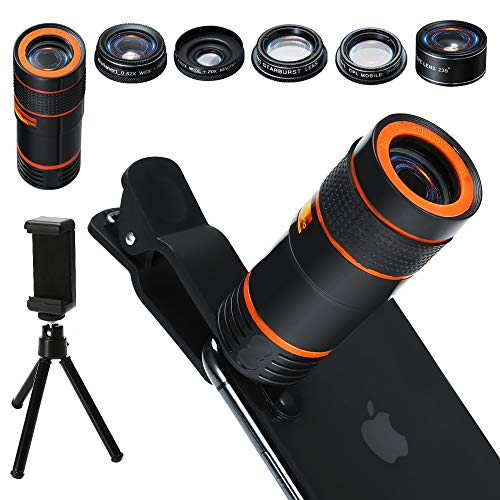 980960acbbf713 6-in-1 Cell Phone Camera Lens Kit, 12x Telephoto Zoom Lens, 0.62x Wide  Angle & 20x Macro, 235° Fisheye, Starburst, and Professional CPL Lens+ Phone  Holder ...