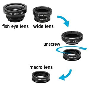 Apexel 4 in 1 Wide Angle Macro Lens + Fisheye Lens +12x ABS Telephoto Lens with Back Case Cover for iPhone 6
