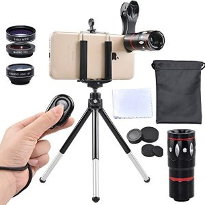 Apexel 5 in 1 Camera Lens Kit – Telephoto + Fisheye + Wide Angle & Macro + Wireless Shutter with Mini Tripod + Phone Holder for iPhone X/8/7/6/6s plus Samsung Galaxy S8/S7 Plus Andriod Phone