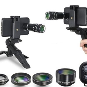 Camera Shutter Remote and Lens Kit for Samsung Galaxy S6 / S6 Edge / S7 / S7 Edge – 12x Telephoto/CPL / Fisheye / 2in1 Macro + Wide Angle Lens/Tripod / Tripod Adapter/Hard Case/Universal Clip