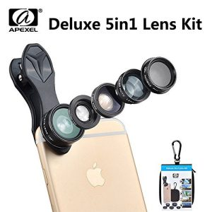 Deluxe 5in1 Lens Kit Apexel Phone Lens kit 198 Fish Eye Fisheye Lens 0.63X Wide Angle Macro Lens CPL Lens telefon lensfor iPhone 6 Plus 7 Samsung Huawei Xiaomi