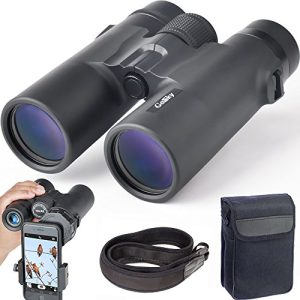 Gosky 10×42 Binoculars Adults, Compact HD Professional Binoculars Bird Watching Travel Stargazing Hunting Concerts Sports-BAK4 Prism FMC Lens Phone Mount Strap Carrying Bag