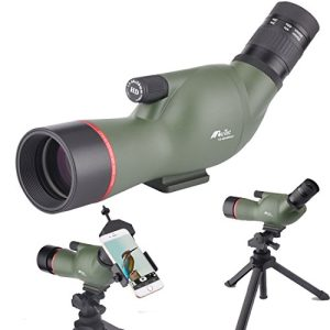 Gosky Moutec 13-40X50 Angled Spotting Scope- Waterproof Scope with Tripod and Digiscoping Adapter, 45 Degree Angled Eyepiece for Outdoor Bird Watching Animal Watching Target Shooting Hunting Scenery