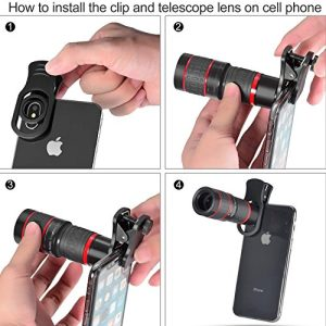 MY MIRACLE Phone Camera Lens, 20X Telephoto Lens + Fisheye Lens + Macro Lens & Wide Angle +Lens Cleaning Pen Brush+ Phone Holder + Tripod, 5in 1 Smartphone Cell Phone Telephoto Lens for iPhone x/7/8/7
