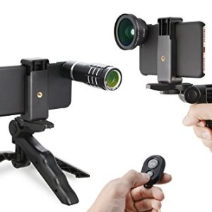 My Miracle 3 in 1 HD Lens Kit for iPhone 6/ 6S/ 6 Plus /6s Plus /7 /7plus /8/8 Plus(12X Telephoto Lens + 0.45X Wide Angle Lens + 15X Macro Lens with Accessories (3 in 1, Black)