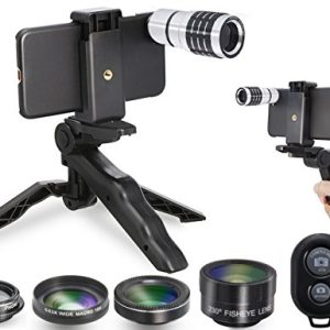 MY MIRACLE 5 in 1 Cell Phone Camera Lens Kit, 0.63X Wide Angle Lens + 15X Micro Lens, 230°Fisheye Lens, 10X Telescope, 17mm CPL