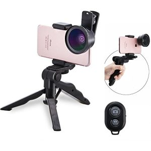 MY MIRACLE Camera Lens Kit, Professional Macro & Wide Angle Lenses Multi-use tripod & Selfie Remote Control For iPhone, Samsung Galaxy, iPads, Tablets (Black Lens + Mini Tripod + Bluetooth)-Rose Gold