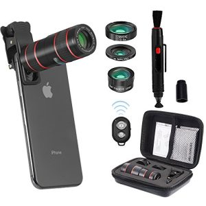 MY MIRACLE Smartphone Camera Lens, 12X Telephoto Lens + 230° Fisheye Lens+ 0.6X Wide Angle Lens+ 15X Macro Lens+Lens Cleaning Pen Brush+ Tripod+ Remote Shutter for iPhone X x/7/8/7 plus/8plus Samsung