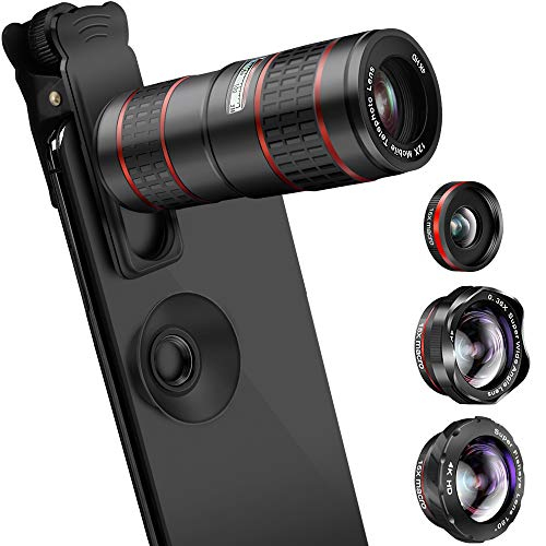 new style bfe56 f7613 Phone Camera Lens, KNGUVTH 5 in 1 Cell Phone Lens Kit - 12X Zoom ...