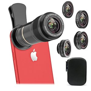 Vorida 6 in 1 Cell Phone Camera Lens, 12X Telephoto Lens + 198° Fisheye Lens+ 0.6X Wide Angle Lens+ 15X Macro Lens+ Tripod+ Remote Shutter for iPhone X 8 7 6 Plus, Samsung, etc