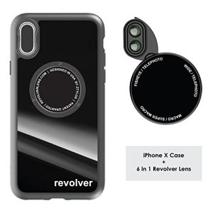 Ztylus Designer Revolver M Series Camera Kit: 6 in 1 Lens with Case for iPhone X – 2x Telephoto Lens, Macro, Super Macro Lens, Wide Angle Lens