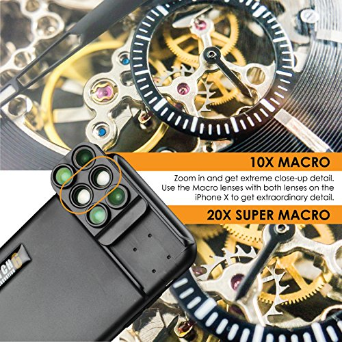 brand new f11c6 31e99 Ztylus Switch 6 for iPhone X: 6-in -1 Dual Optics Lens System (Fisheye,  Telephoto, Wide-angle, Macro and Super Macro), Double Layer Protection
