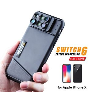 Ztylus Switch 6 for iPhone X: 6-in -1 Dual Optics Lens System (Fisheye, Telephoto, Wide-angle, Macro and Super Macro), Double Layer Protection