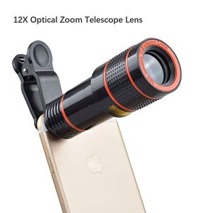 iPhone Lens, 0.4X Wide Angle Lens + 180°Fisheye Lens & 10X Macro Lens (Screwed Together), Clip on Cell Phone Lens for iPhone Camera Lens for iPhone 7 Plus, 8, 7, 6s, Samsung & Smartphones