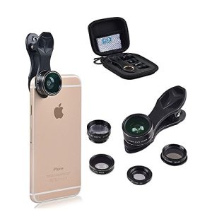 Apexel 5 in 1 HD Camera Lens Kit 198 Degree Fisheye Lens/0.63x Wide Angle/15x Macro Lens/2X Telephoto Lens/CPL Lens for iPhone 6/6s Plus SE Samsung Galaxy S7/S7 Edge S6/S6 Edge and most Smartphone