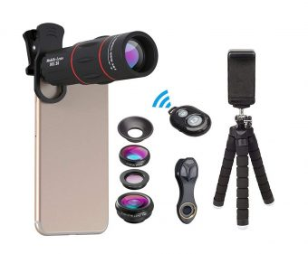 Apexel Phone Photography Kit-Flexible Phone Tripod + Remote Shutter + 4 in 1 Lens Kit-High Power 18X Monocular Telephoto Lens, Fisheye, Macro & Wide Angle Lens for iPhone X 8 7 6 Plus Samsung Smartphone