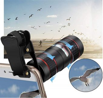 Phone Camera Lens Kit, KNGUVTH 5 in 1 Cell Phone Camera Lens Kit – 12X Zoom Telephoto Lens- Plus More